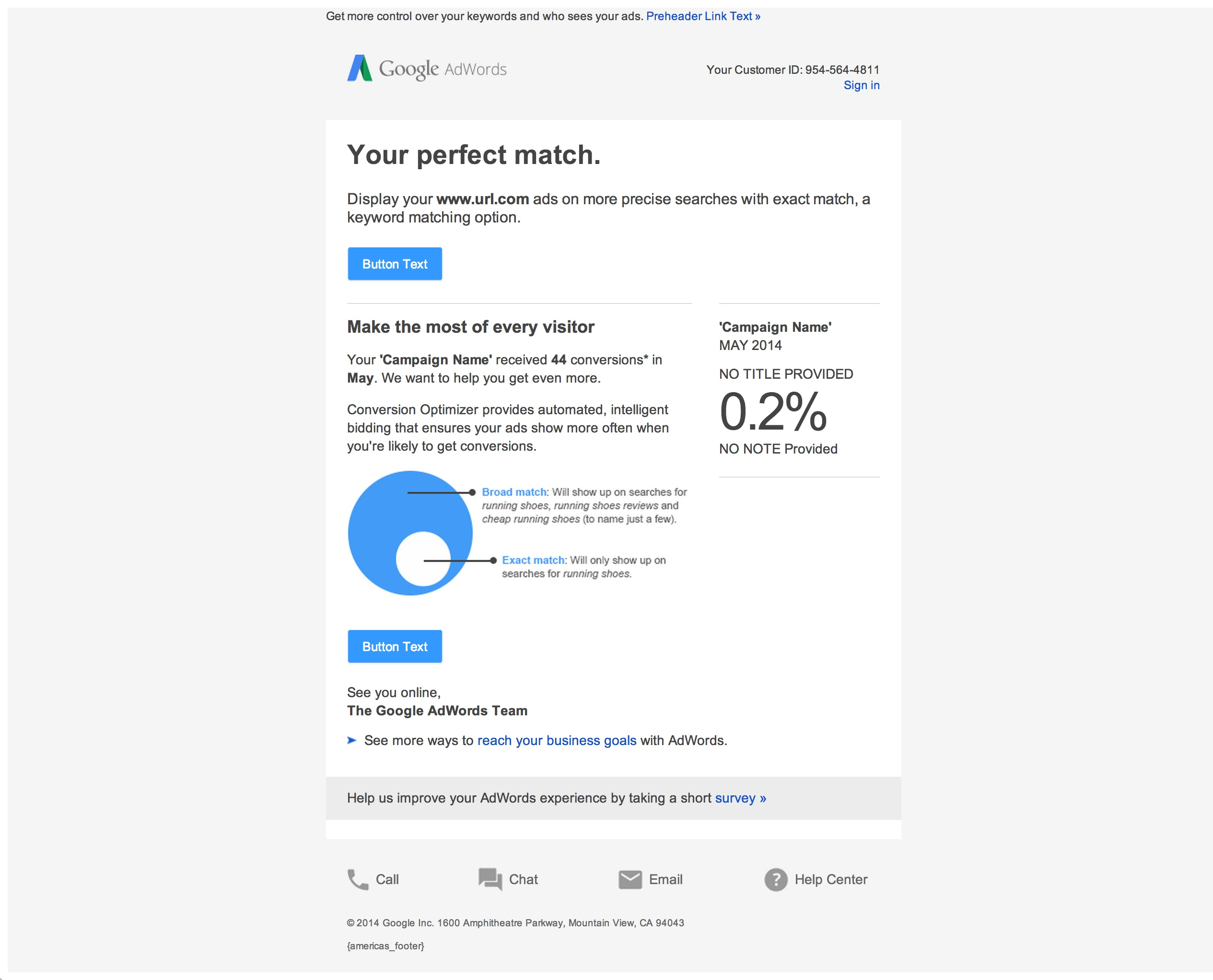 Boe Gatiss - 'Your Perfect Match' Email for Google AdWords