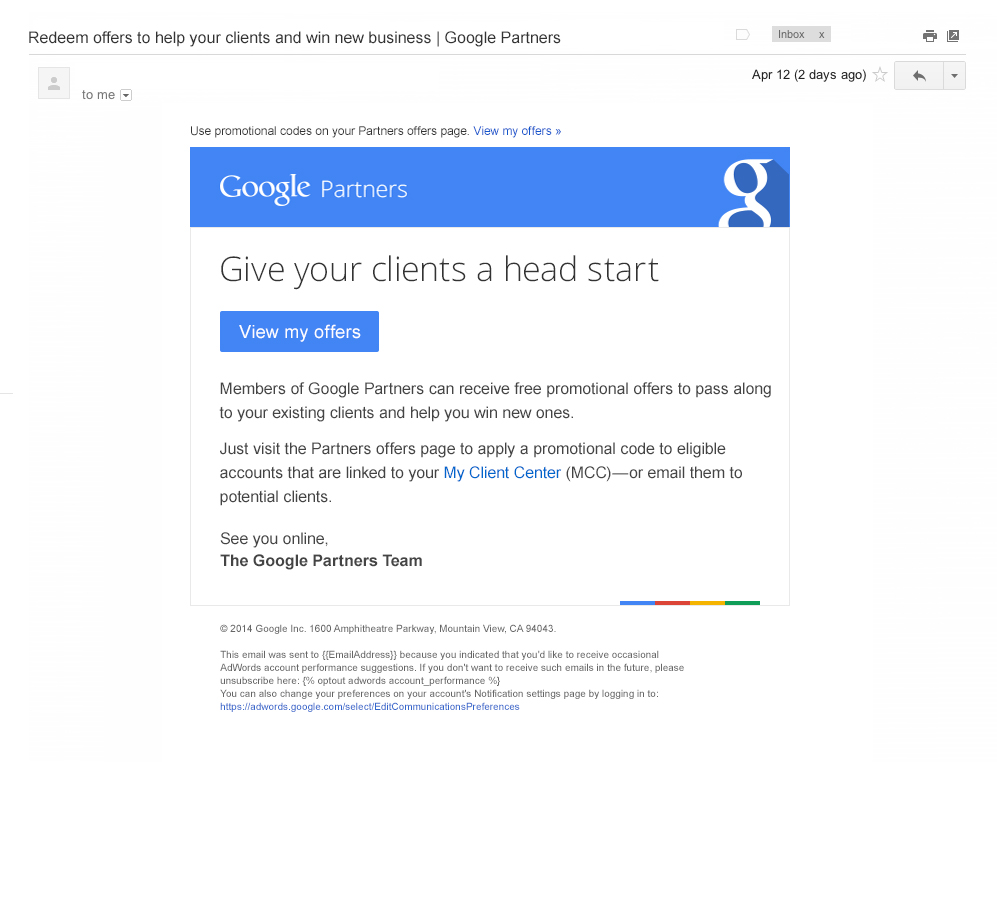 Boe Gatiss - 'Head Start' email for Google
