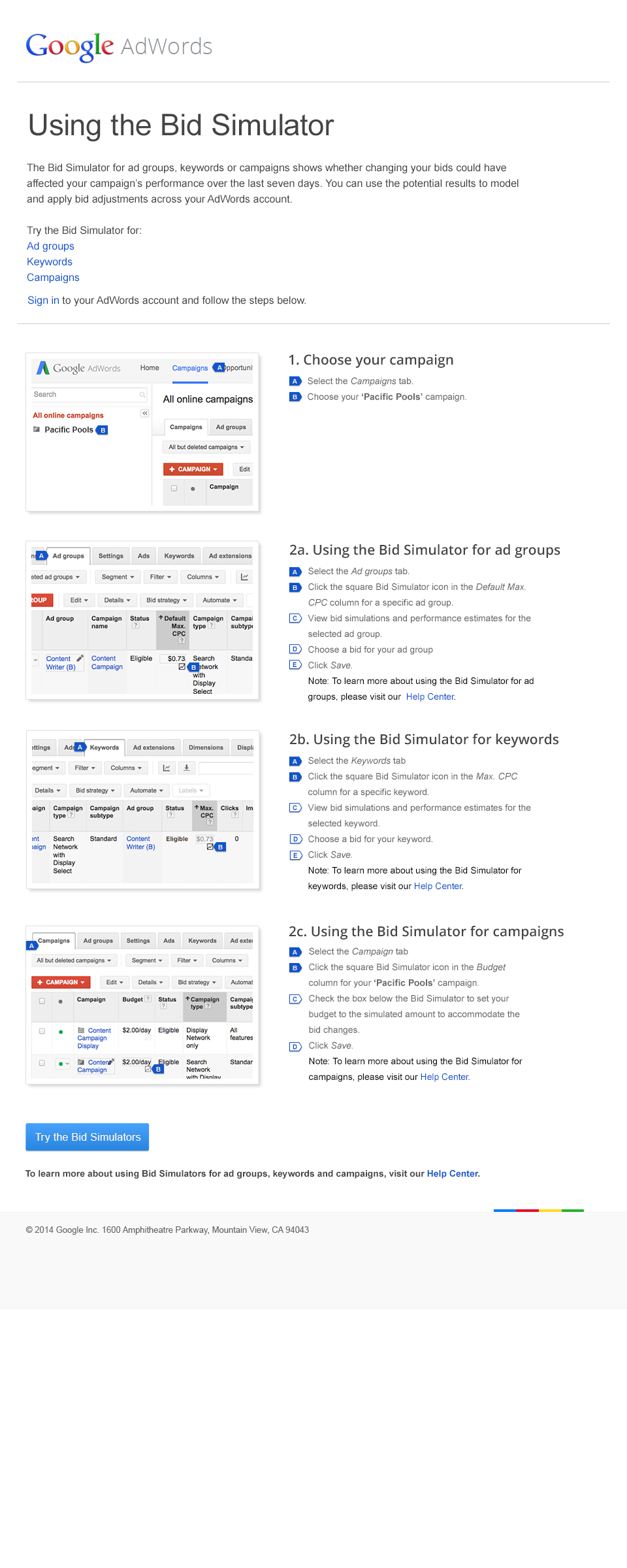 Boe Gatiss - AdWords Bid Simulator Landing Page for Google