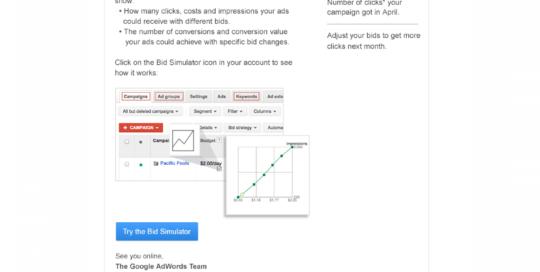 Boe Gatiss - AdWords Bid Simulator email for Google