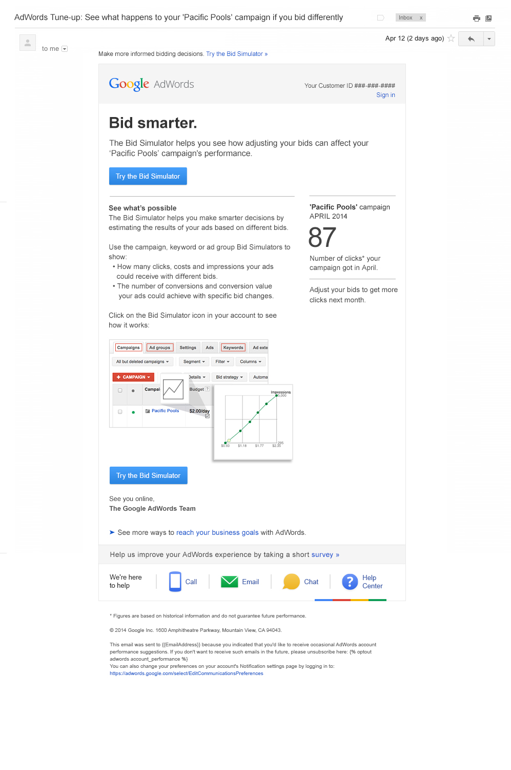 Boe Gatiss - AdWords Bid Simulator email for Google