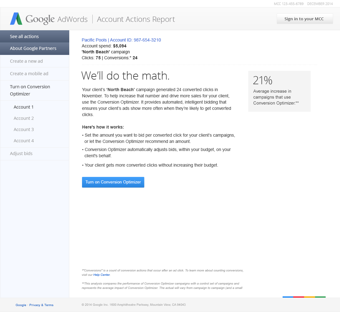 'We'll Do The Math' Hyper-Targeted AdWords Campaign Email for Google