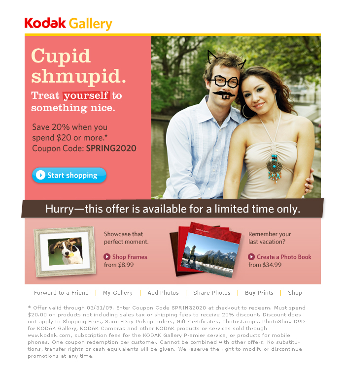 'Cupid Shmupid' Direct Response Email for Kodak Gallery
