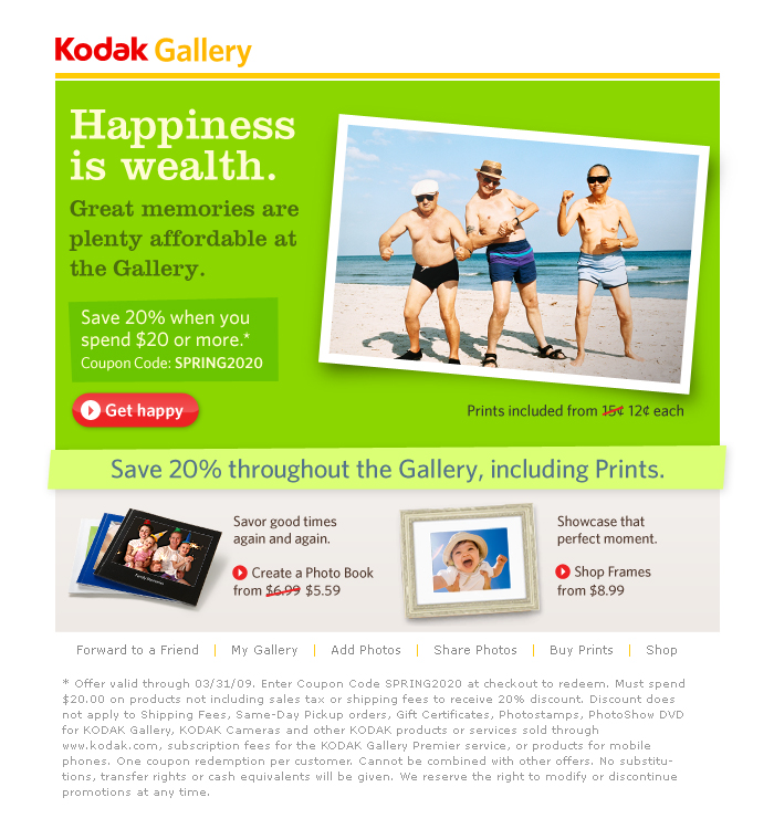 Boe Gatiss - 'Happiness Is Wealth' Direct Response Email for Kodak Gallery