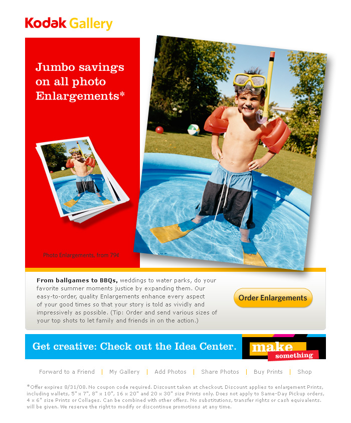 'Jumbo Savings' Direct Response Email for Kodak Gallery