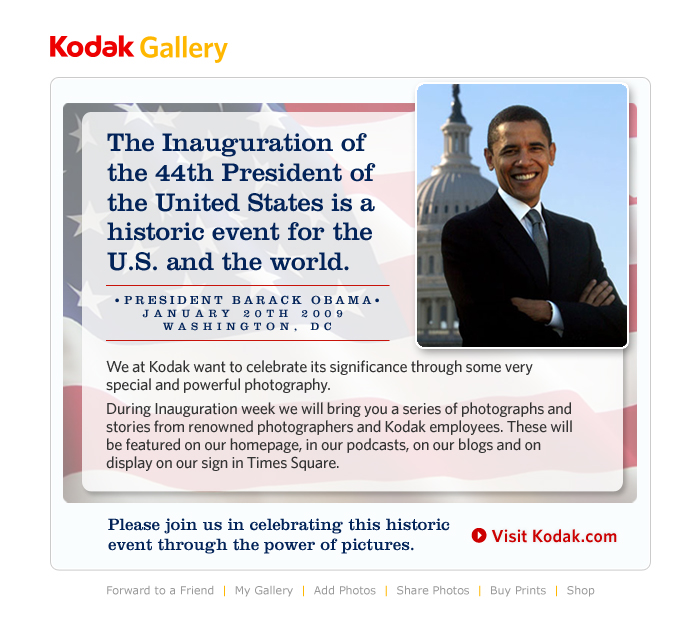 Obama Email for Kodak Gallery