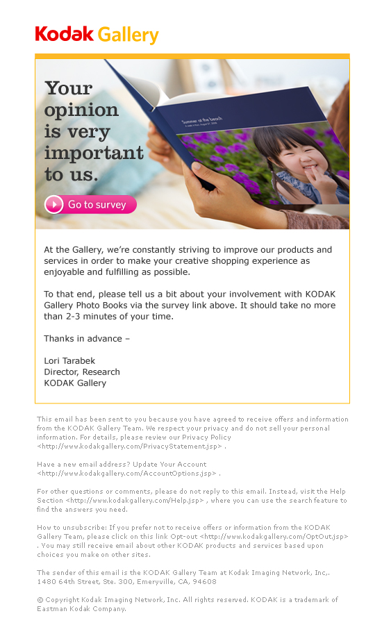 Survey Email for Kodak Gallery