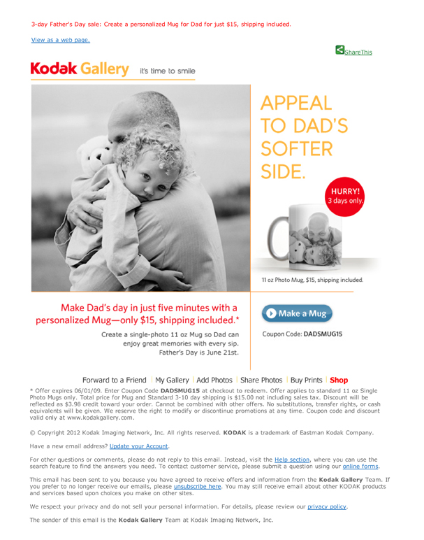 Boe Gatiss - 'Softer Side' Direct Response Email for Kodak Gallery