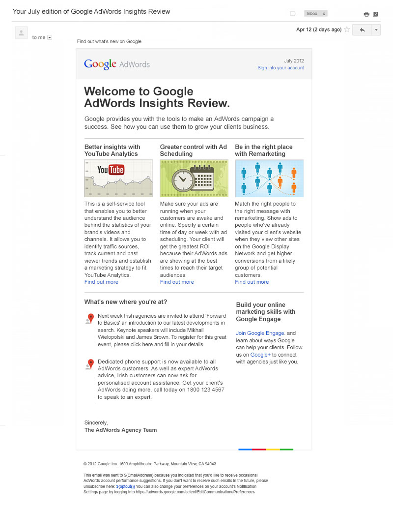 Google-AdWords-Engage-Newsletter