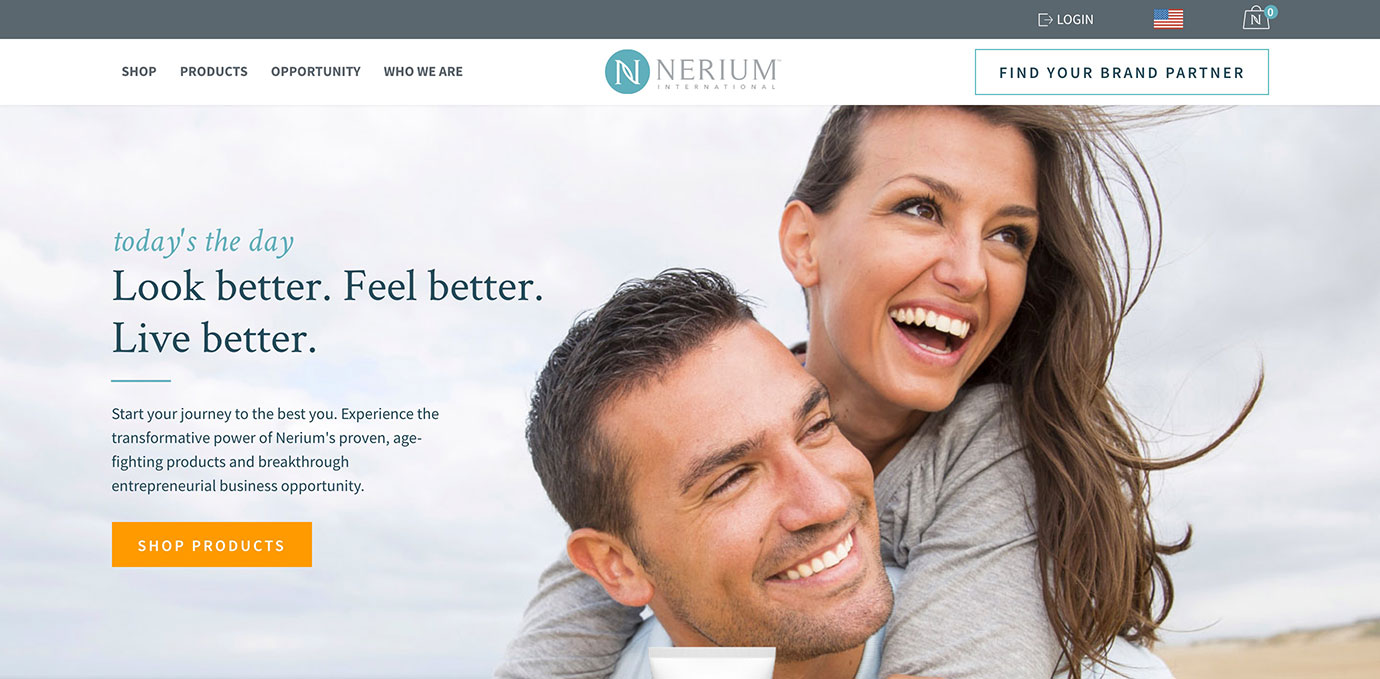 Nerium International website copy by Boe Gatiss