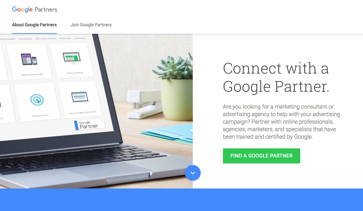 Google Partners subsite - Original copy by Boe Gatiss