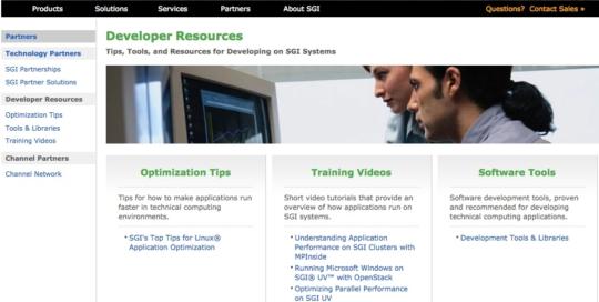 SGI Developer Program subsite - Original copy by Boe Gatiss