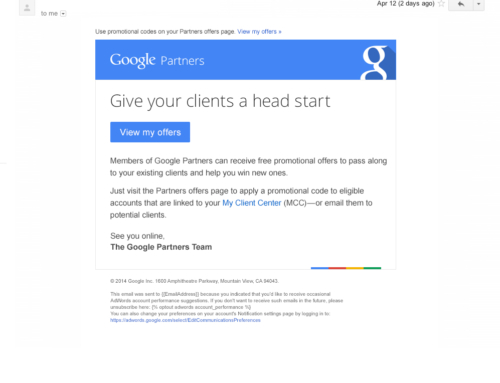 'Head Start' Direct Response Email for Google Partners