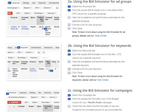 AdWords Bid Simulator Landing Page for Google