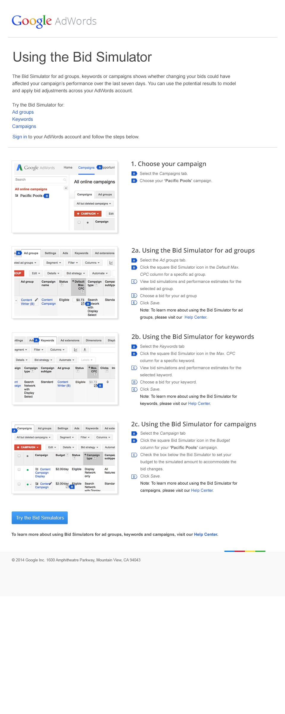 Boe Gatiss - AdWords Bid Simulator Landing Page for Google