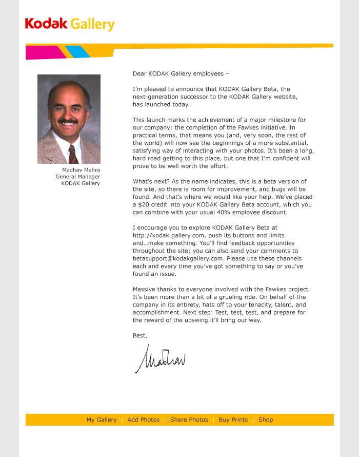 Boe Gatiss - Beta announce letter for Kodak Gallery