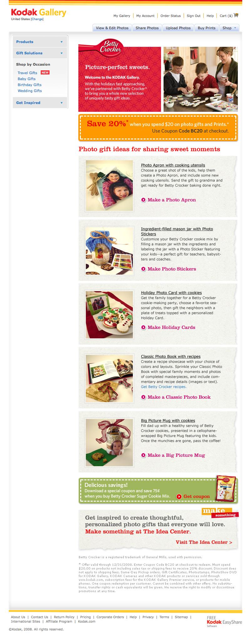 Betty Crocker Co-Branded Landing Page for Kodak Gallery