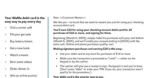 Boe Gatiss - Consumer Debit Direct Response Email for Washington Mutual