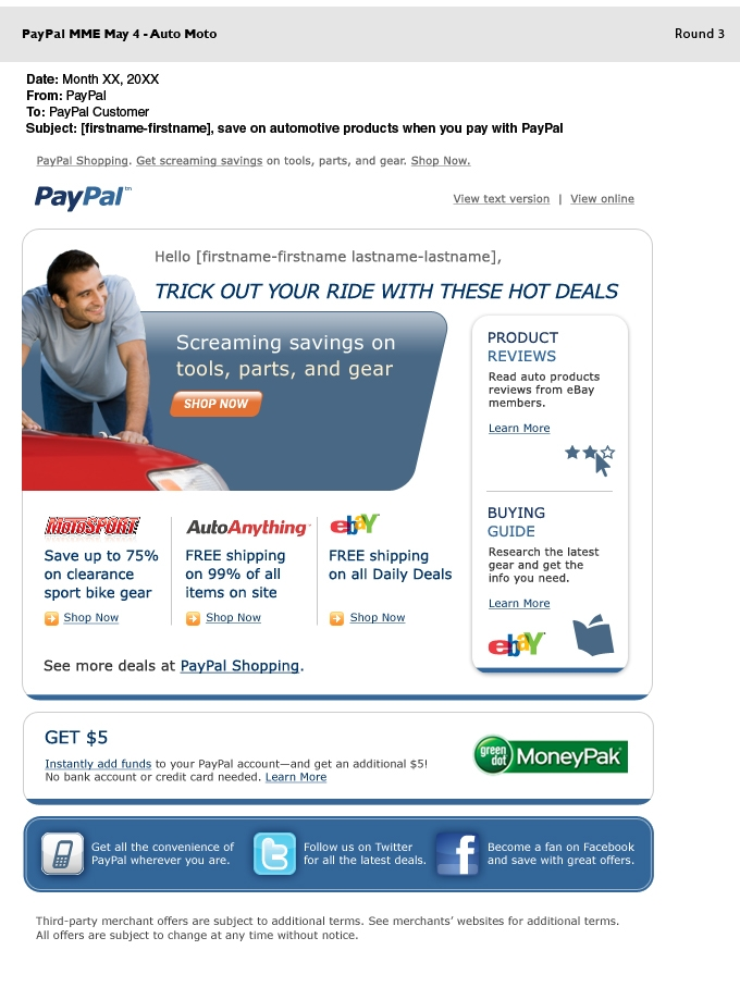 'Trick Your Ride' Direct Response Email for PayPal