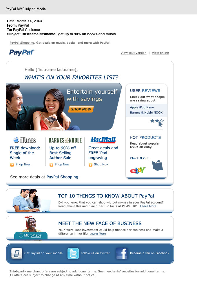 'Favorites List' Direct Response Email for PayPal